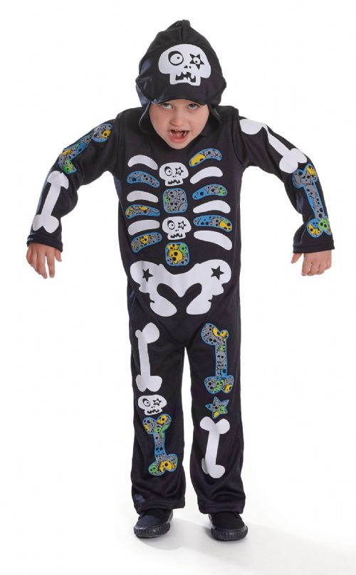 Childs Skeleton Boy Hooded/Colour Bones Costume Halloween Pirates Fancy Dress
